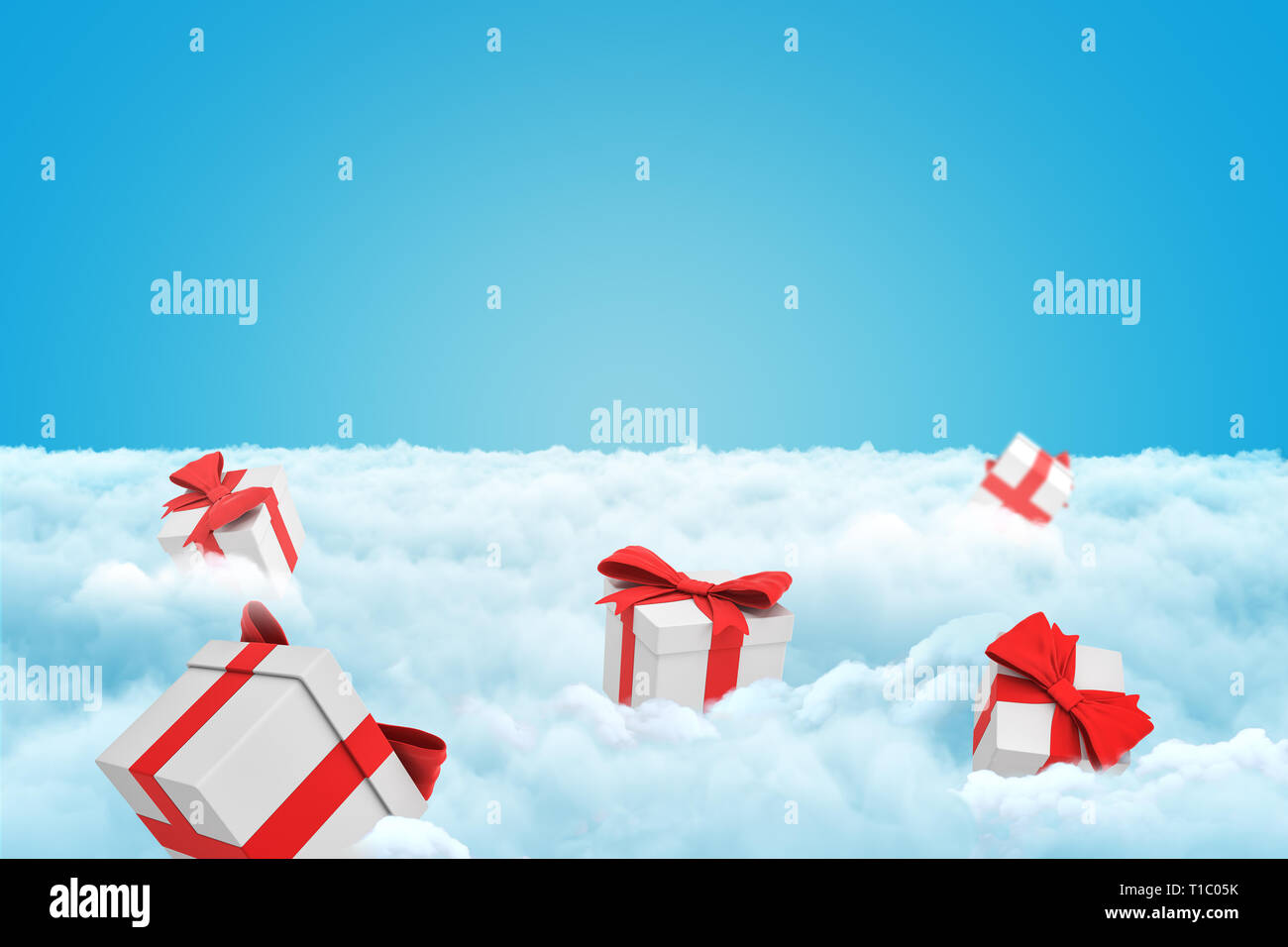3d rendering of several gift boxes on a layer of white fluffy clouds with some copy space left in the sky. - Stock Image
