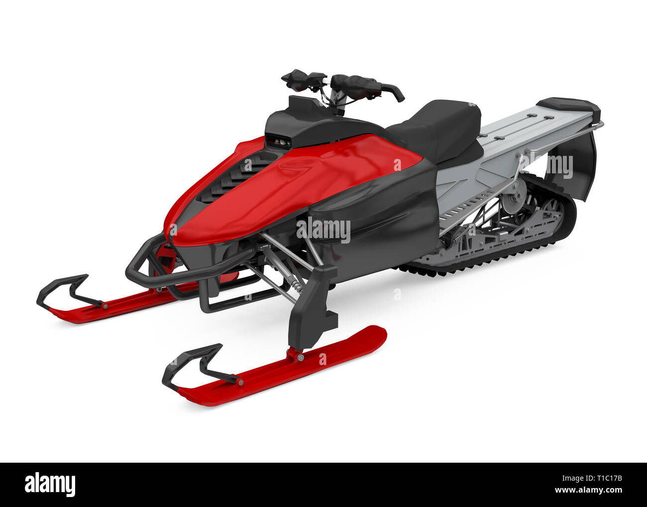 Red Snowmobile Isolated - Stock Image