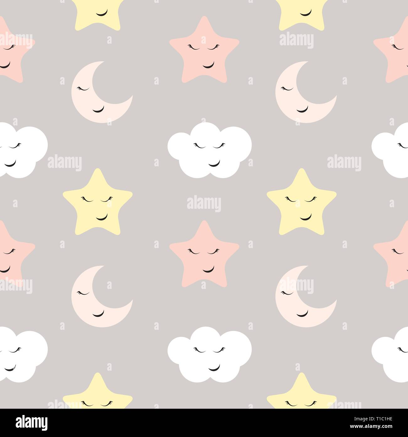 Cute Star, Cloud and Moon Seamless Pattern Background Vector