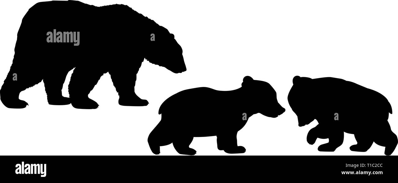 Bear family two bear cubs black silhouette animals - Stock Vector