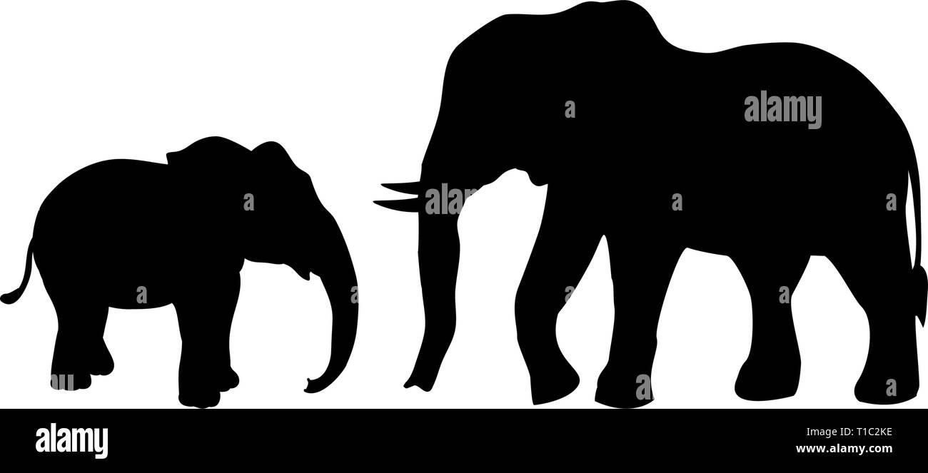 Elephant and Elephant calf mammal black silhouette animal - Stock Vector