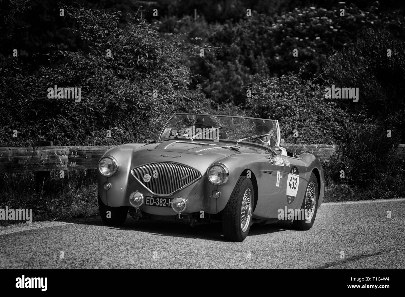 AUSTIN HEALEY 100/4 BN2 1956 on an old racing car in rally Mille Miglia 2018 the famous italian historical race (1927-1957) - Stock Image