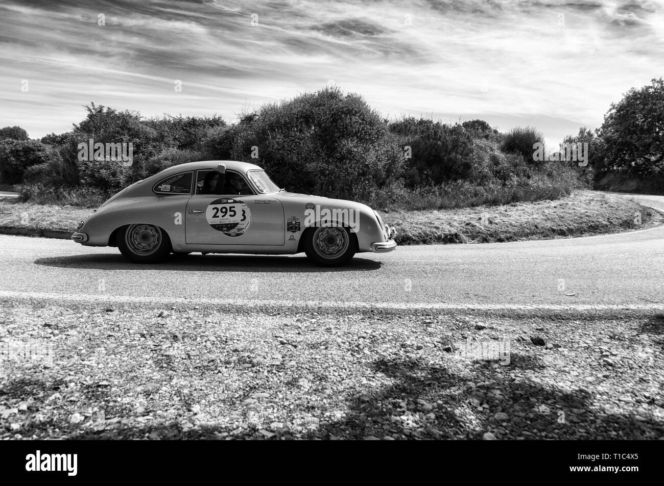 PORSCHE 356 1500 SUPER 1953 on an old racing car in rally Mille Miglia 2018 the famous italian historical race (1927-1957) - Stock Image