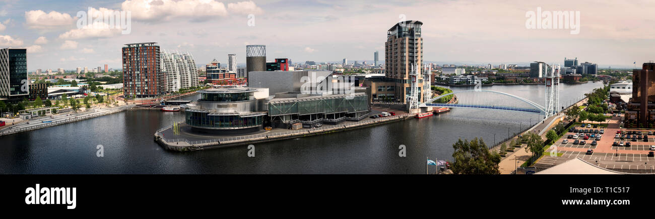 A Panoramic image of Media City and the Manchester Skyline (From the Sth) in 2013 - Stock Image
