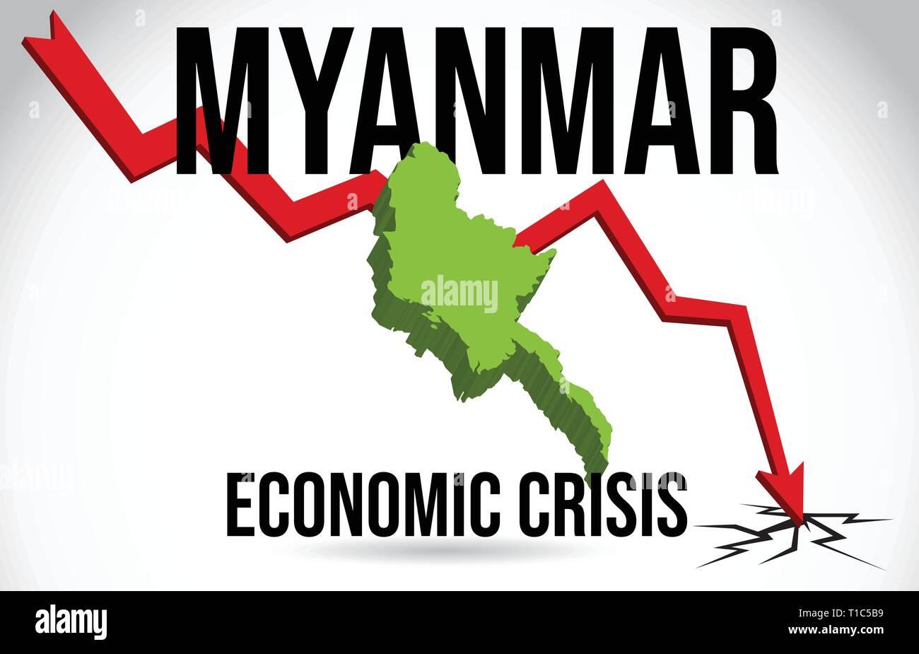 Myanmar Map Financial Crisis Economic Collapse Market Crash Global Meltdown Vector Illustration. - Stock Vector