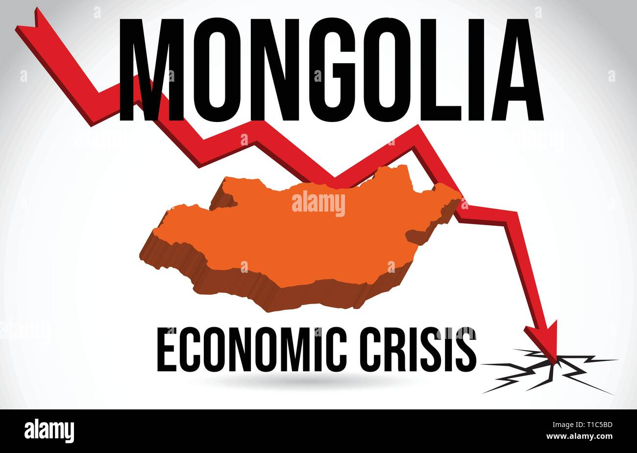 Mongolia Map Financial Crisis Economic Collapse Market Crash Global Meltdown Vector Illustration. Stock Vector
