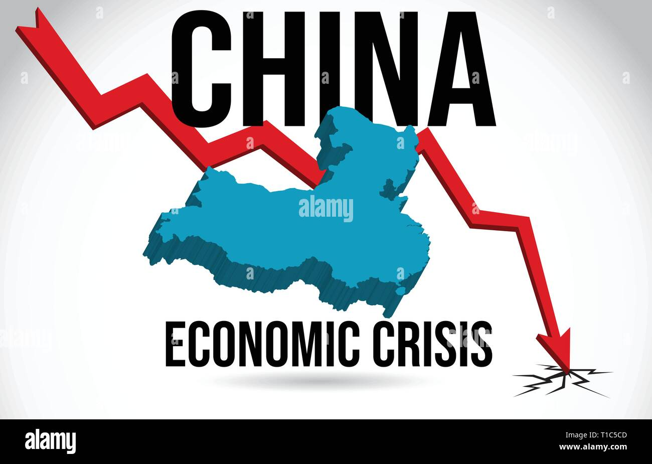 China Map Financial Crisis Economic Collapse Market Crash Global Meltdown Vector Illustration. - Stock Vector