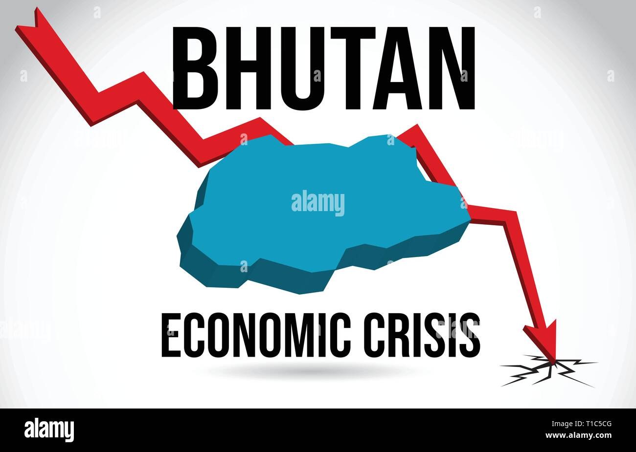 Bhutan Map Financial Crisis Economic Collapse Market Crash Global Meltdown Vector Illustration. - Stock Vector
