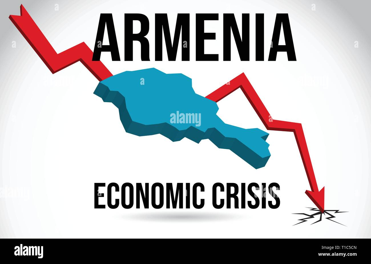 Armenia Map Financial Crisis Economic Collapse Market Crash Global Meltdown Vector Illustration. - Stock Vector