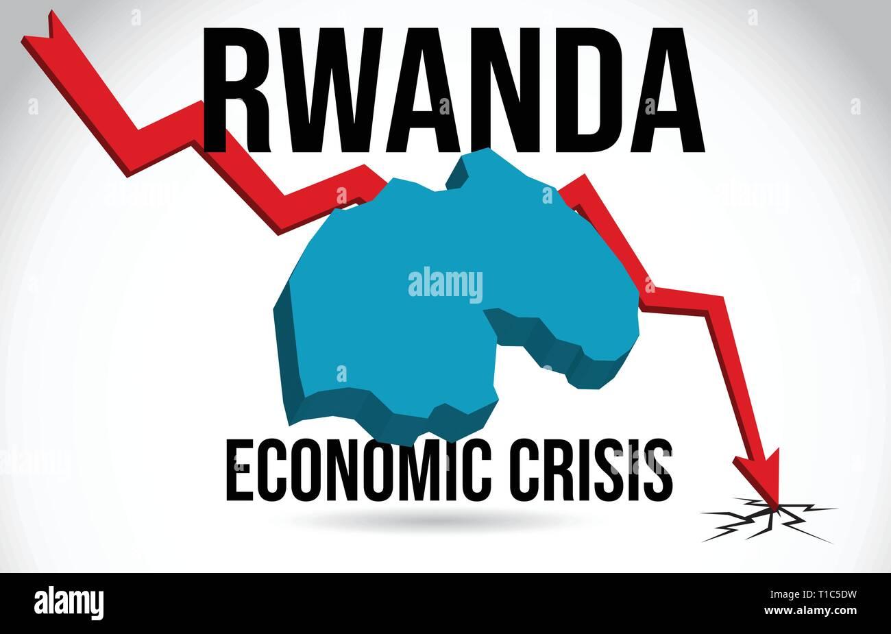 Rwanda Map Financial Crisis Economic Collapse Market Crash Global Meltdown Vector Illustration. - Stock Vector
