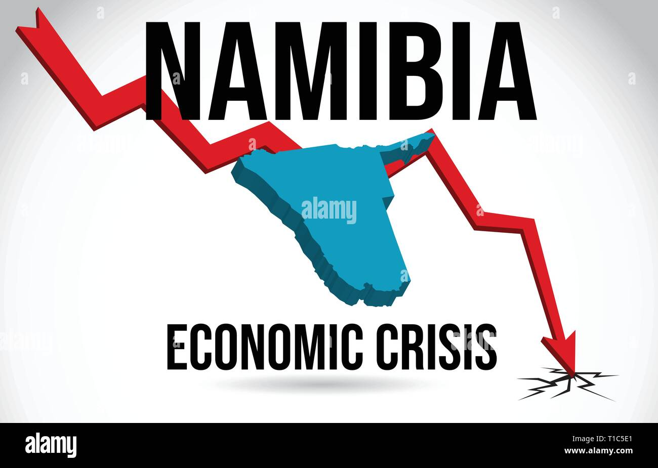 Namibia Map Financial Crisis Economic Collapse Market Crash Global Meltdown Vector Illustration. - Stock Vector