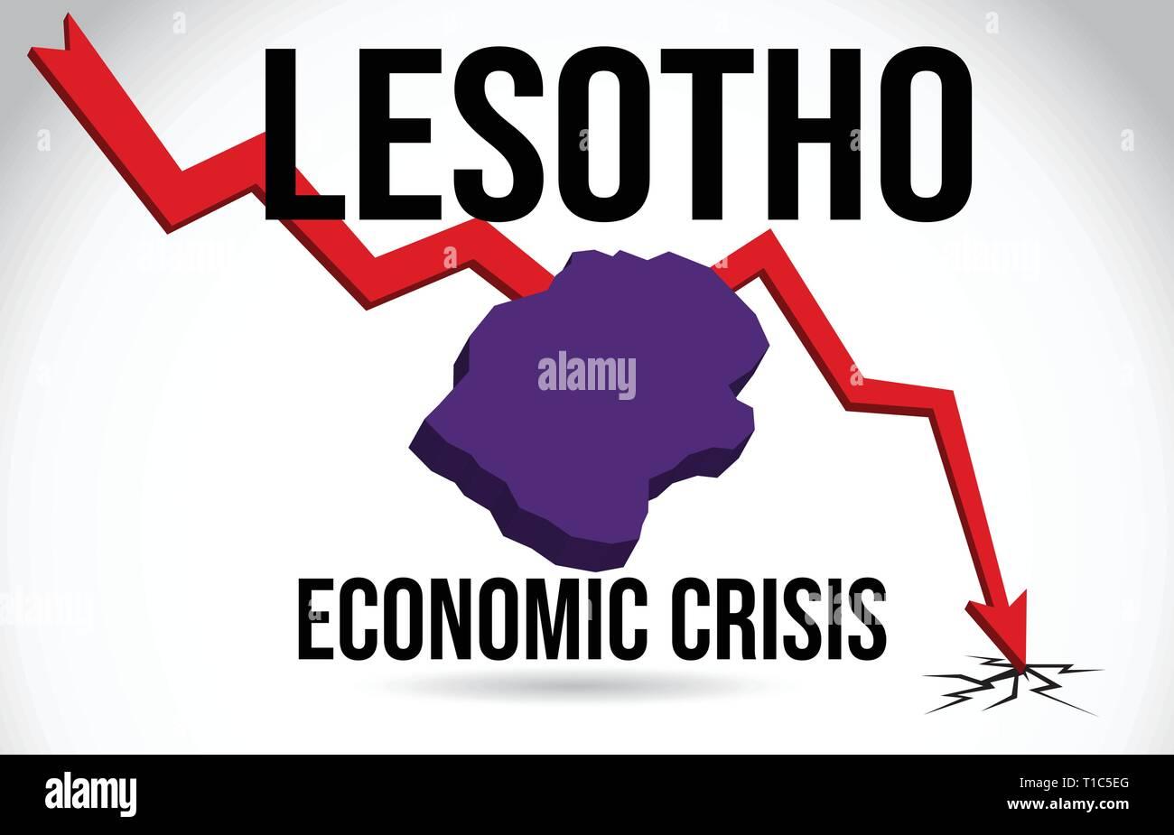 Lesotho Map Financial Crisis Economic Collapse Market Crash Global Meltdown Vector Illustration. - Stock Vector