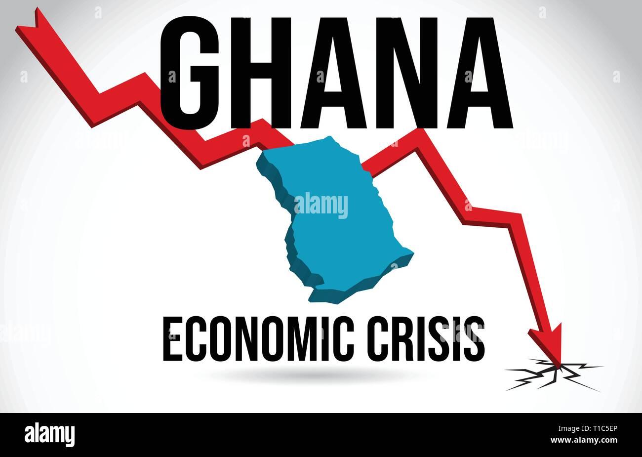 Ghana Map Financial Crisis Economic Collapse Market Crash Global Meltdown Vector Illustration. - Stock Vector