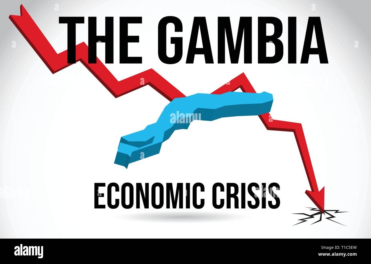 The Gambia Map Financial Crisis Economic Collapse Market Crash Global Meltdown Vector Illustration. - Stock Vector