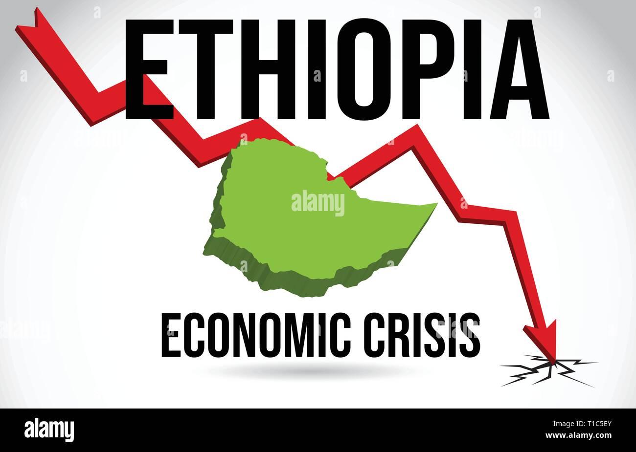 Ethiopia Map Financial Crisis Economic Collapse Market Crash Global Meltdown Vector Illustration. - Stock Vector