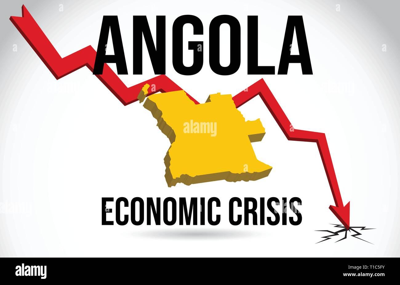 Angola Map Financial Crisis Economic Collapse Market Crash Global Meltdown Vector Illustration. - Stock Vector