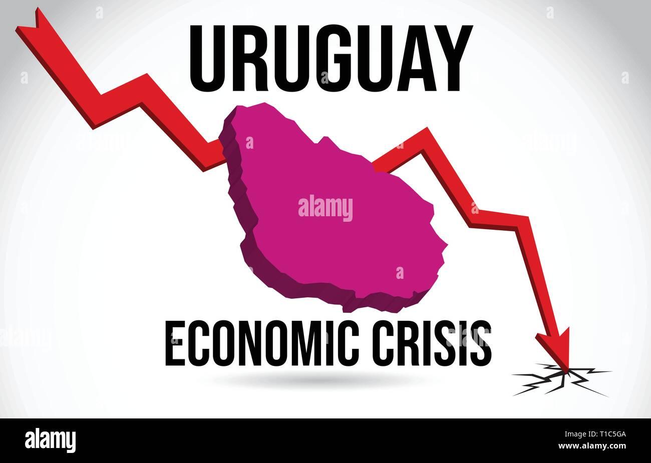Uruguay Map Financial Crisis Economic Collapse Market Crash Global Meltdown Vector Illustration. - Stock Vector
