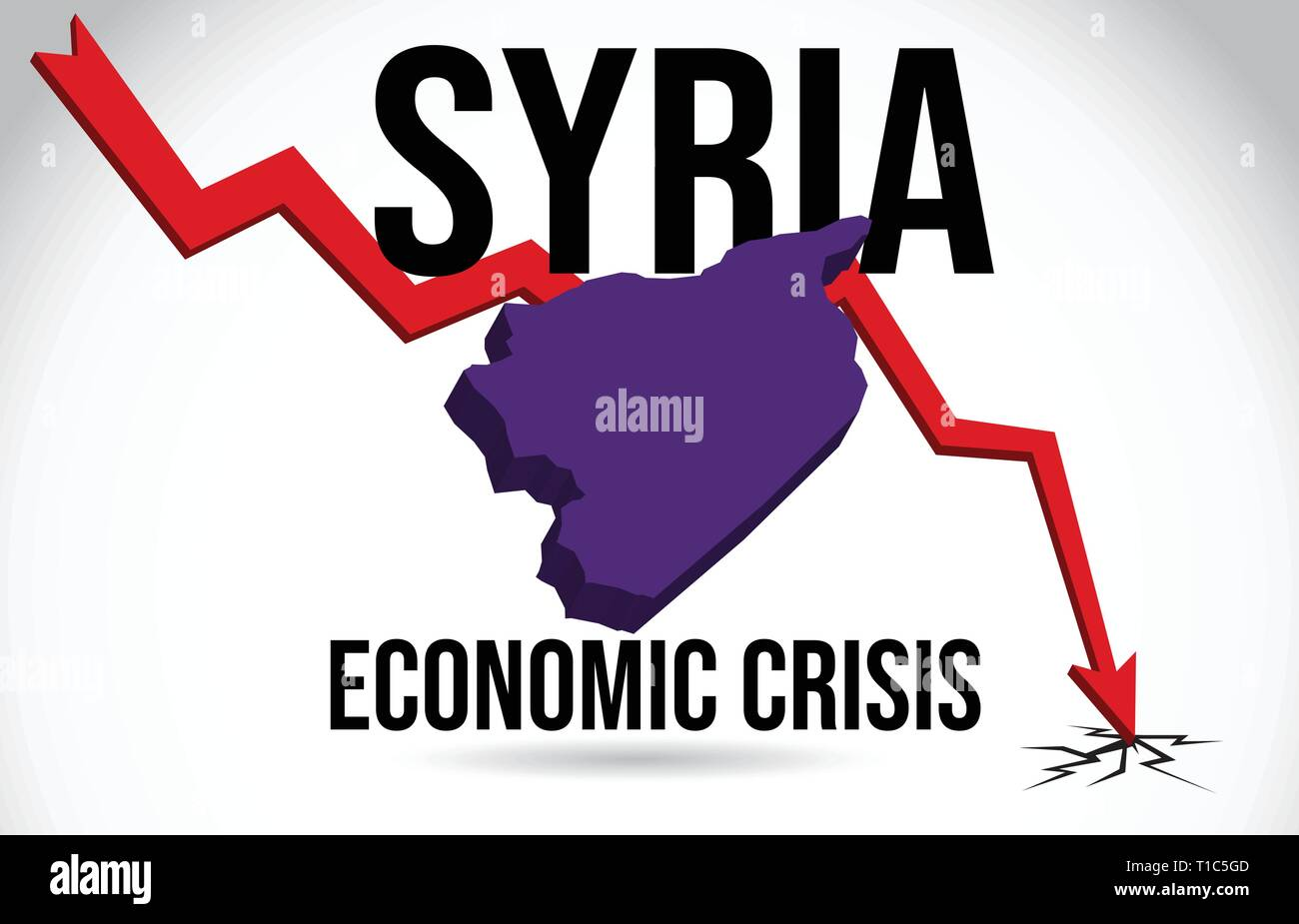 Syria Map Financial Crisis Economic Collapse Market Crash Global Meltdown Vector Illustration. - Stock Vector