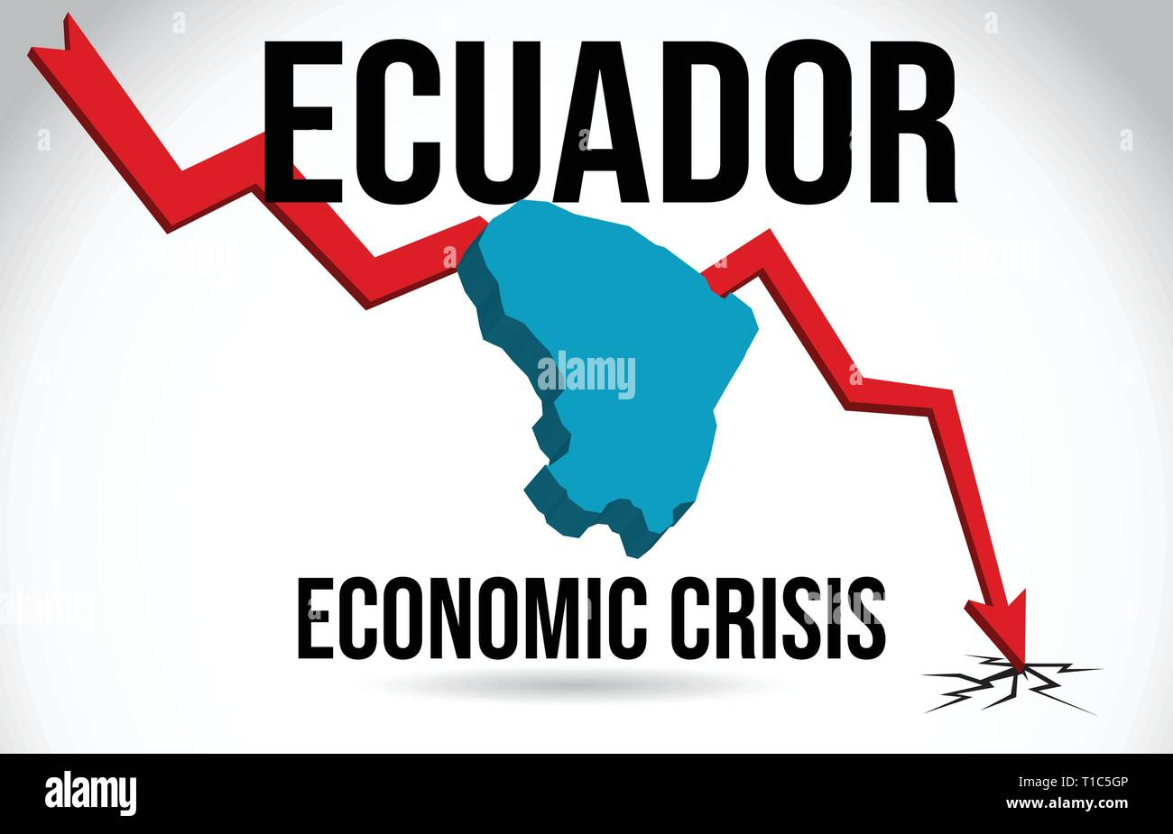 Ecuador Map Financial Crisis Economic Collapse Market Crash Global Meltdown Vector Illustration. - Stock Vector