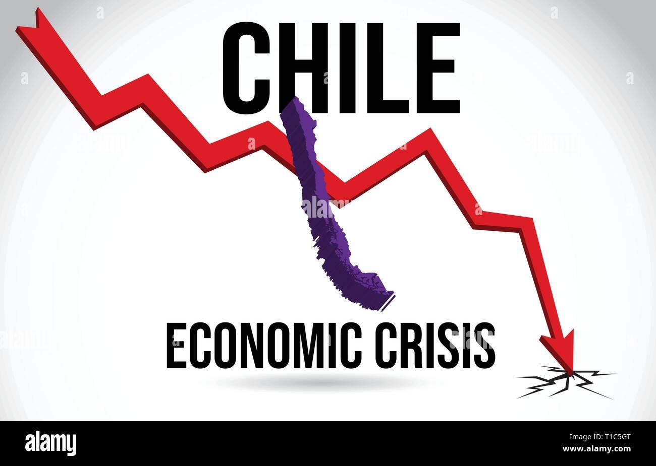 Chile Map Financial Crisis Economic Collapse Market Crash Global Meltdown Vector Illustration. - Stock Vector