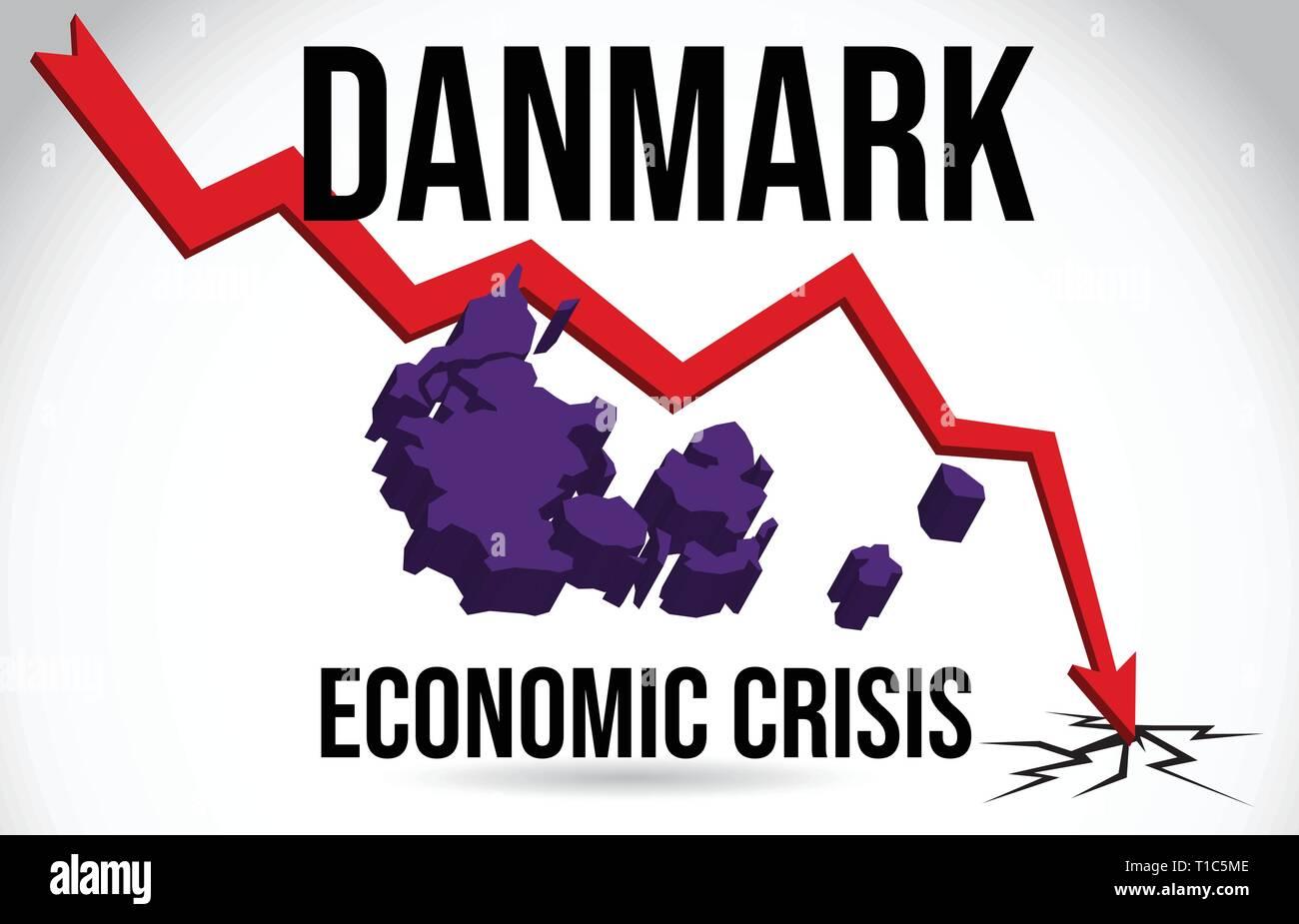 Danmark Map Financial Crisis Economic Collapse Market Crash Global Meltdown Vector Illustration. - Stock Vector