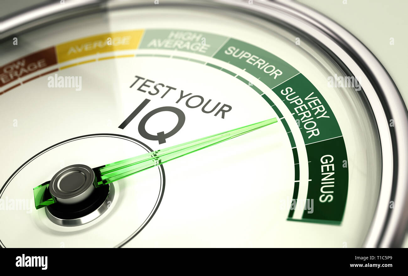 Concept of IQ testing, conceptual gauge with needle pointing very superior intelligence quotient. - Stock Image