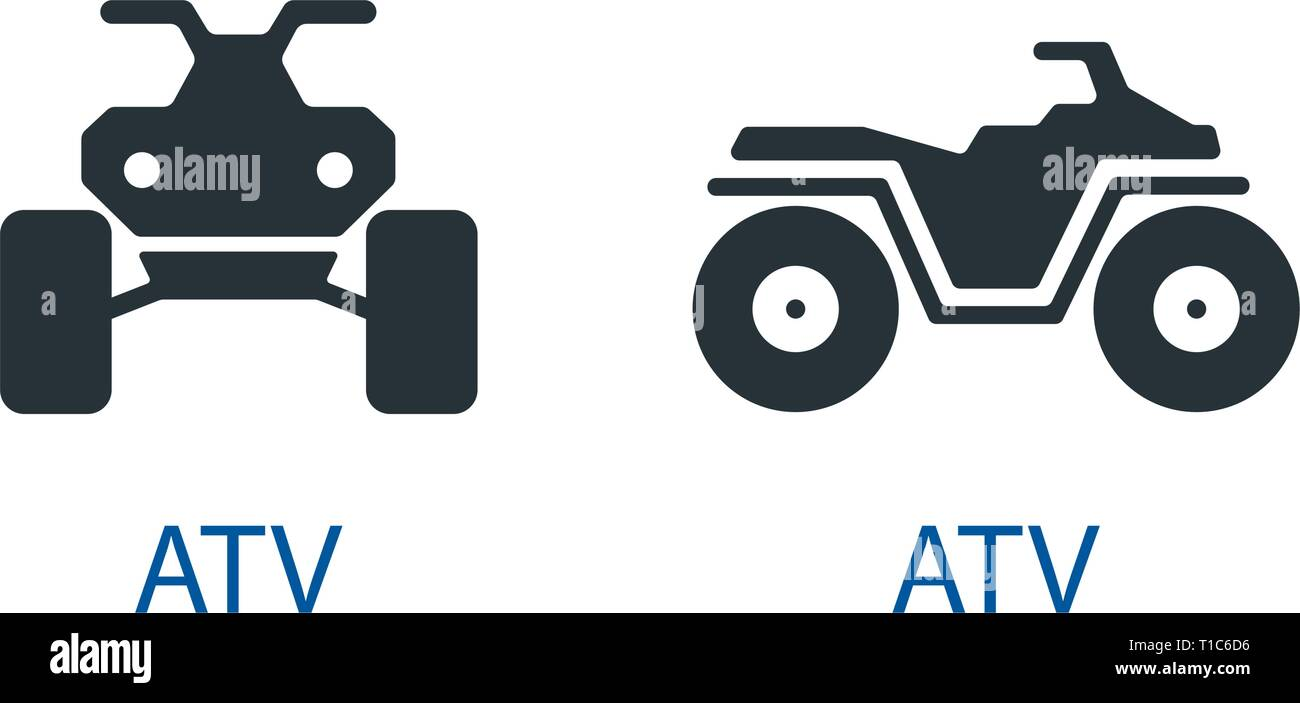 All-terrain vehicle Quad bike atv icon isolated front view off-road motorcycles set vector sign symbol - Stock Image