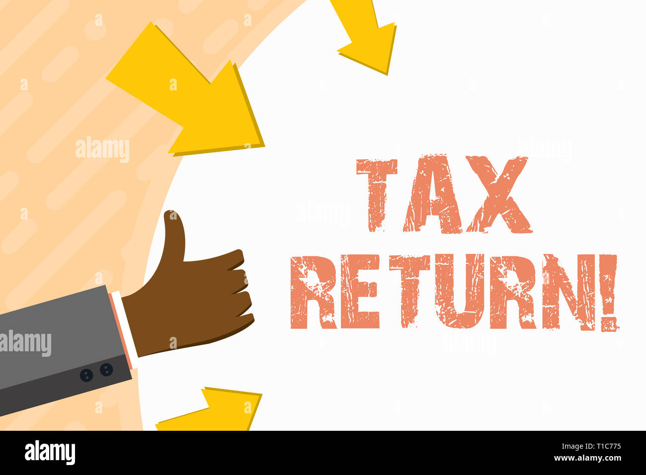 Word writing text Tax Return. Business photo showcasing form on which taxpayer makes annual statement of income Hand Gesturing Thumbs Up and Holding o Stock Photo