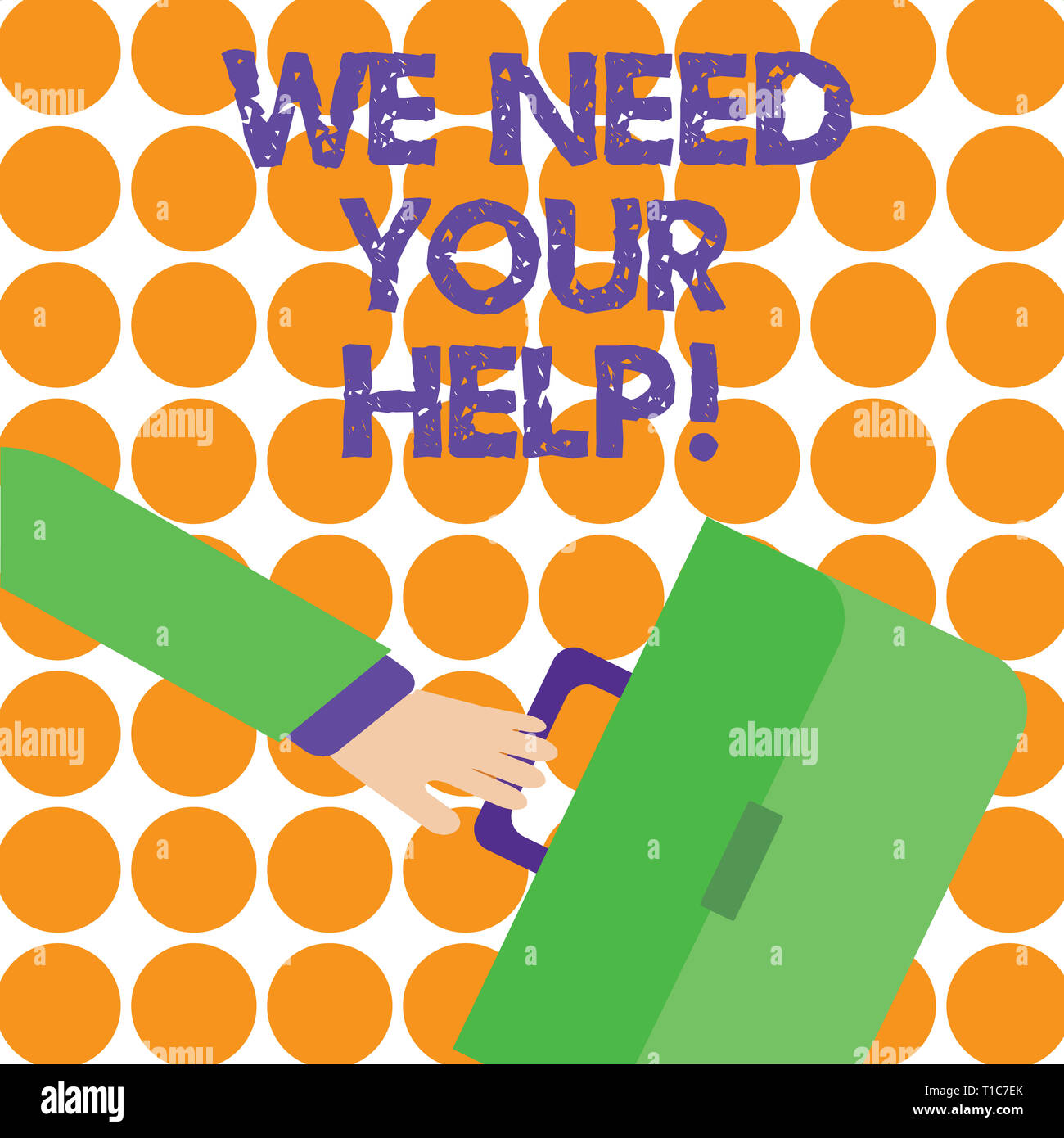 Conceptual hand writing showing We Need Your Help. Concept meaning asking someone to stand with you against difficulty Rushing Businessman Swayed Back - Stock Image