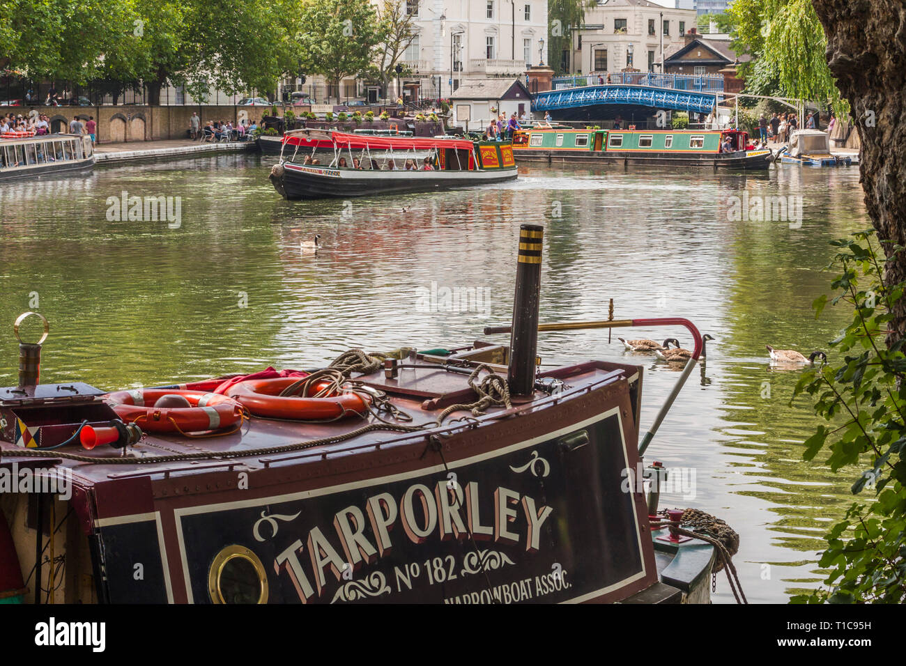 Little Venice, Waterside Cafe, Grand Union Canal,London,England,UK,Europe - Stock Image