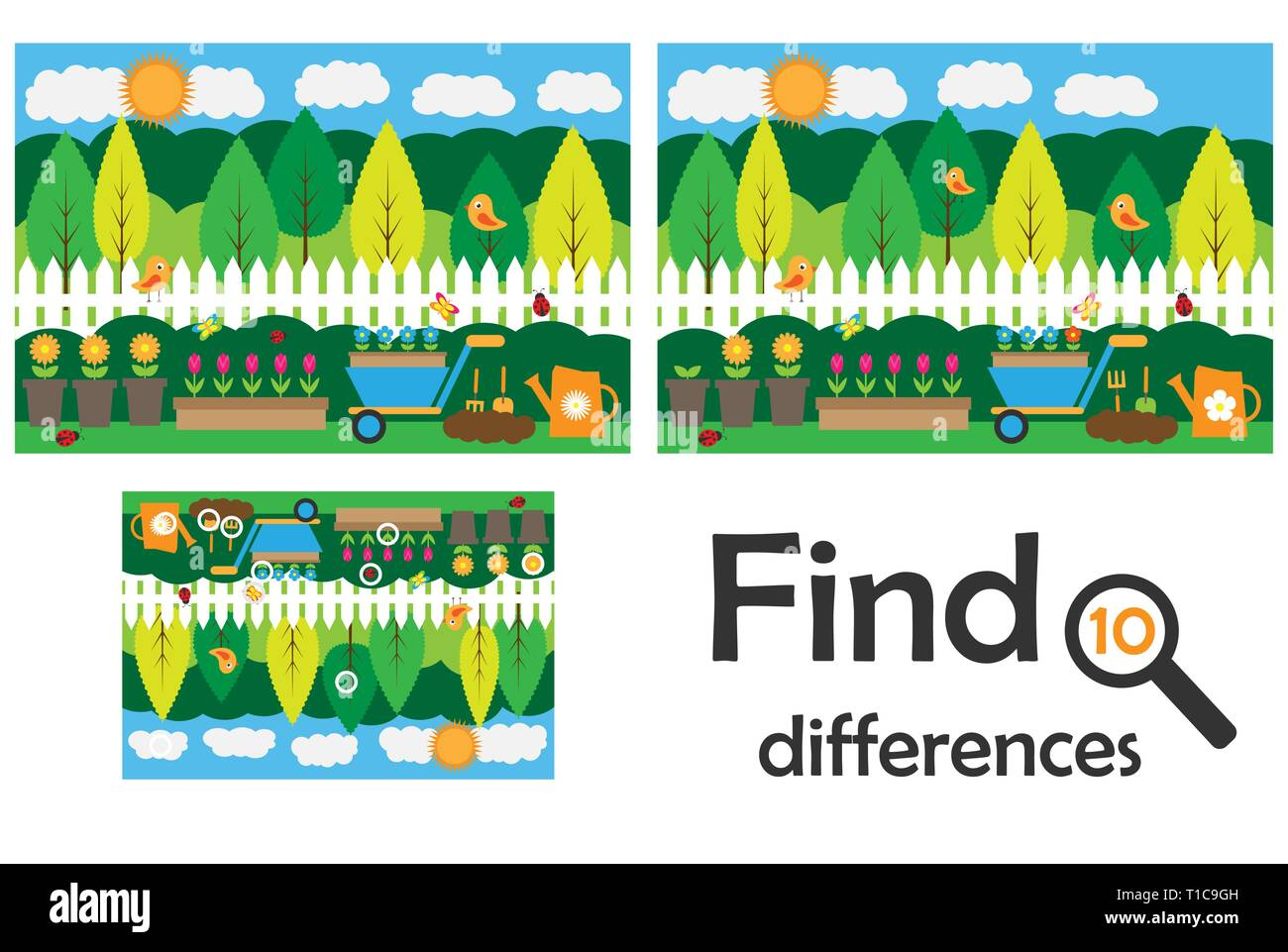 Find 10 differences, game for children, garden cartoon, education ...