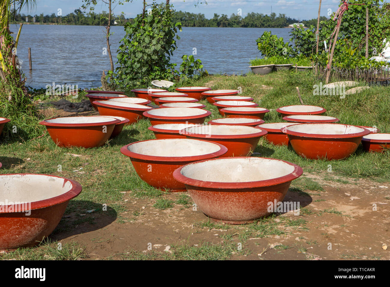 A plant pot factory in the Mekong Delta, Vietnam. - Stock Image