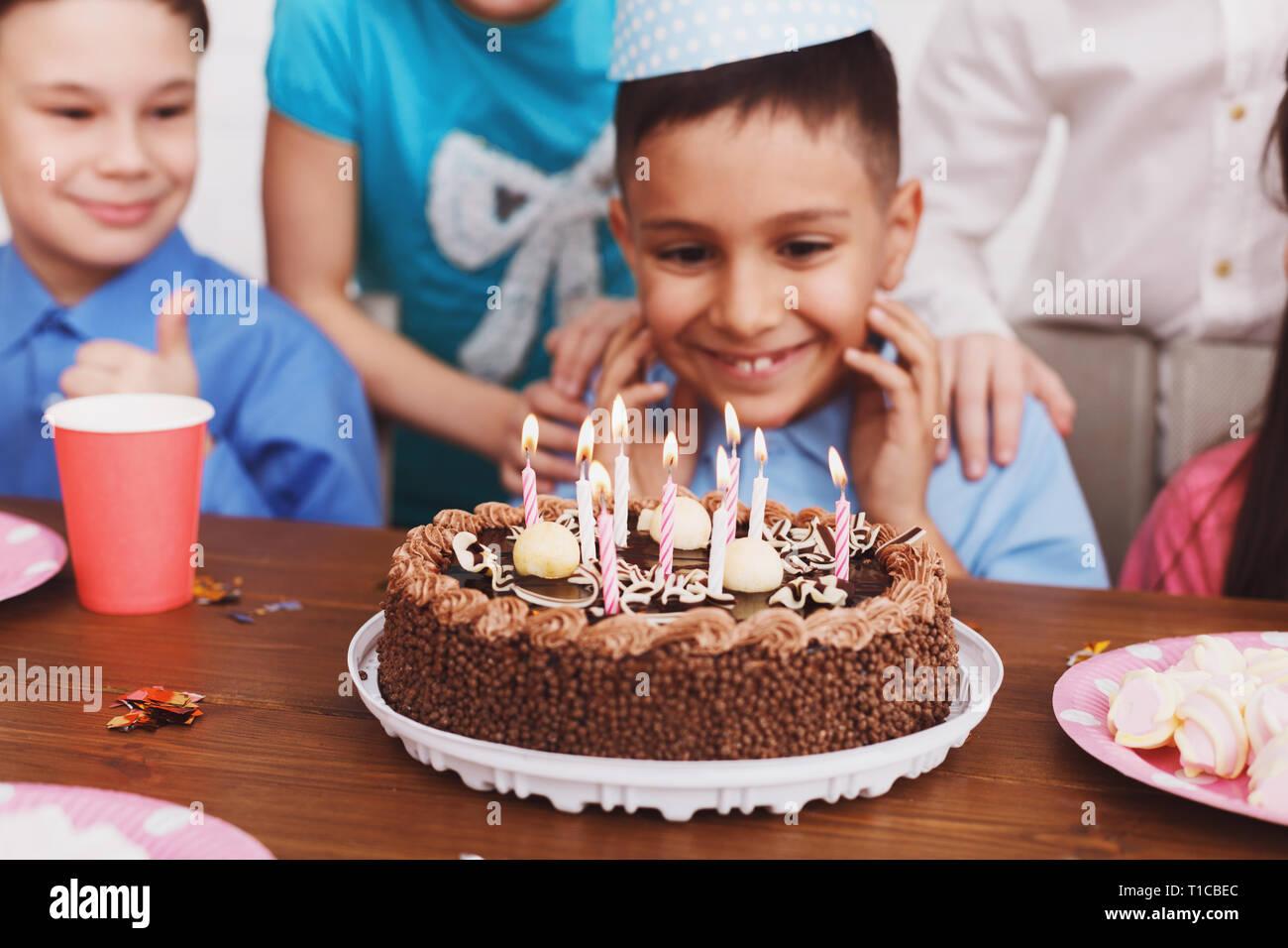 Outstanding Birthday Cake Boy Celebrating B Day And Making Wish Stock Photo Birthday Cards Printable Benkemecafe Filternl