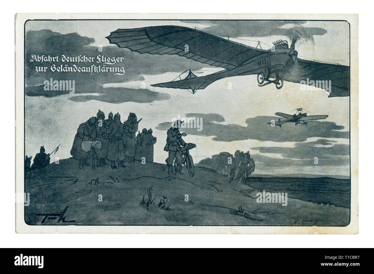 German historical postcard: The German aviators received orders for reconnaissance of the area. Airplanes fly in different directions, world war one - Stock Image