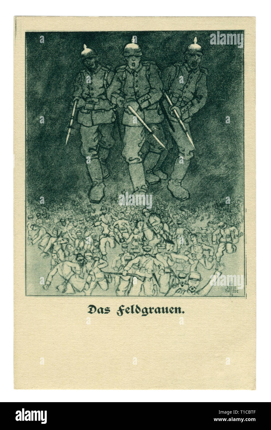 German historical postcard: Field gray color of the military uniform. Infantry soldiers with rifles and bayonets at the ready chase the allied forces - Stock Image