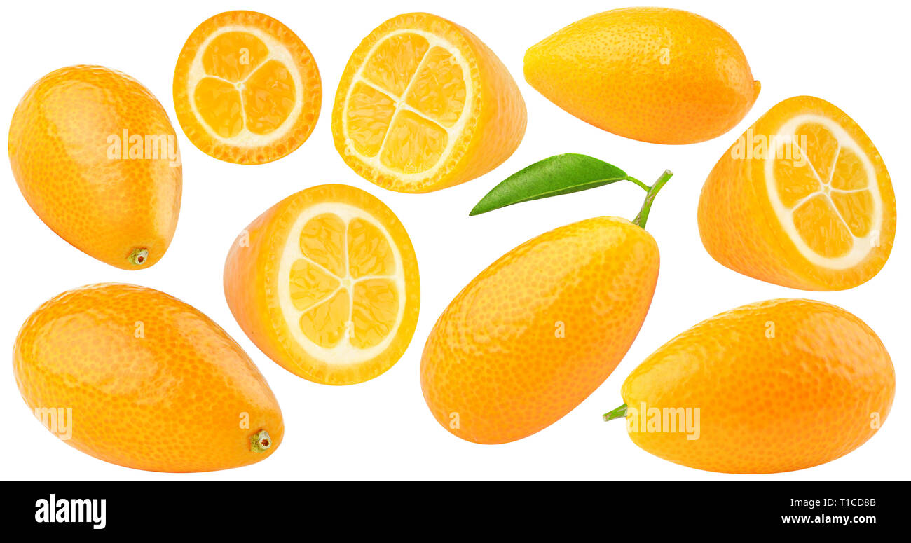 isolated kumquates. Collection of fresh kumquat (fortunella) citrus fruits, whole and cut, isolated on white background with clipping path Stock Photo