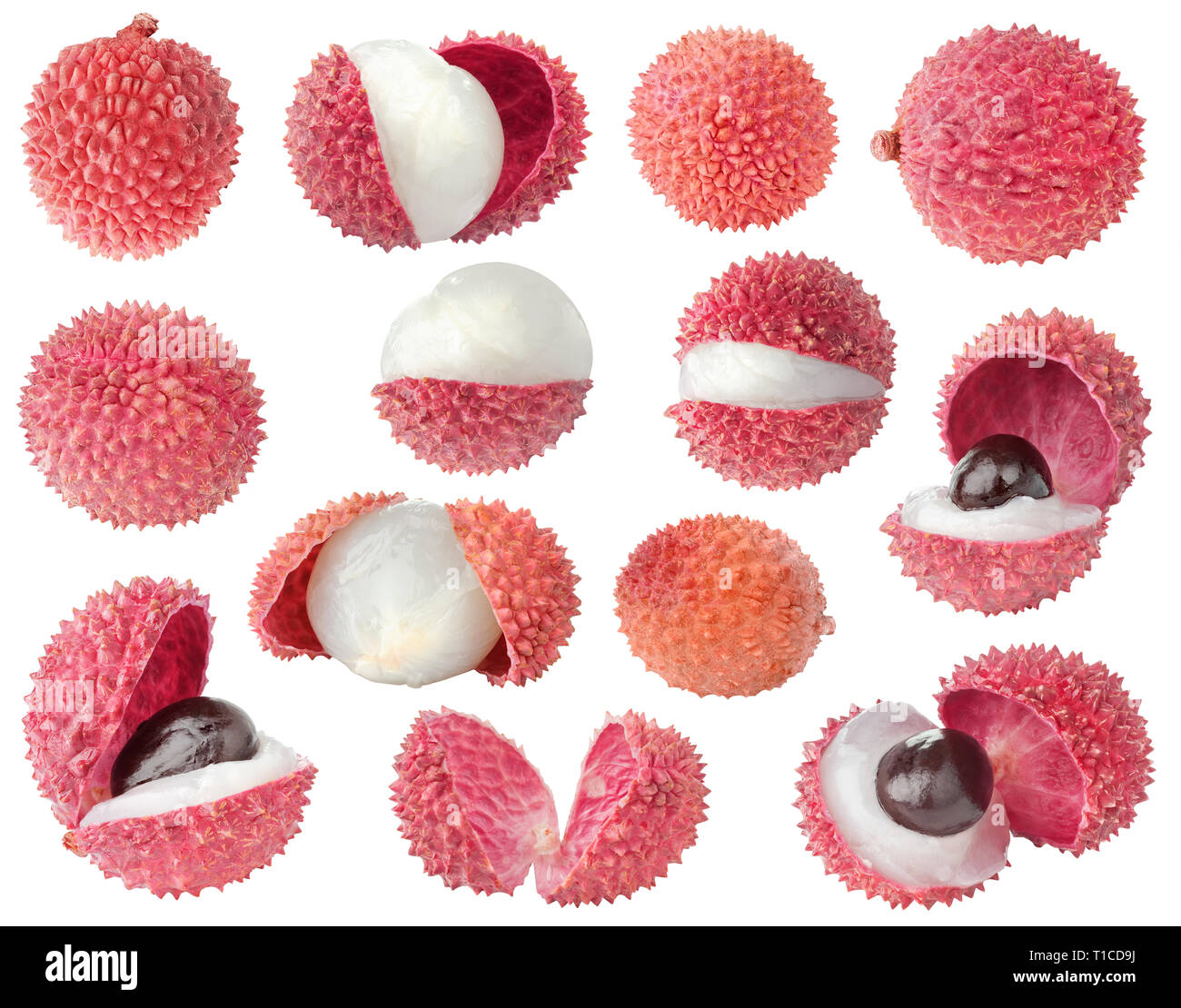 Isolated lychee. Collection of lichee fruits of different shapes, whole and cut, isolated on white background with clipping path Stock Photo