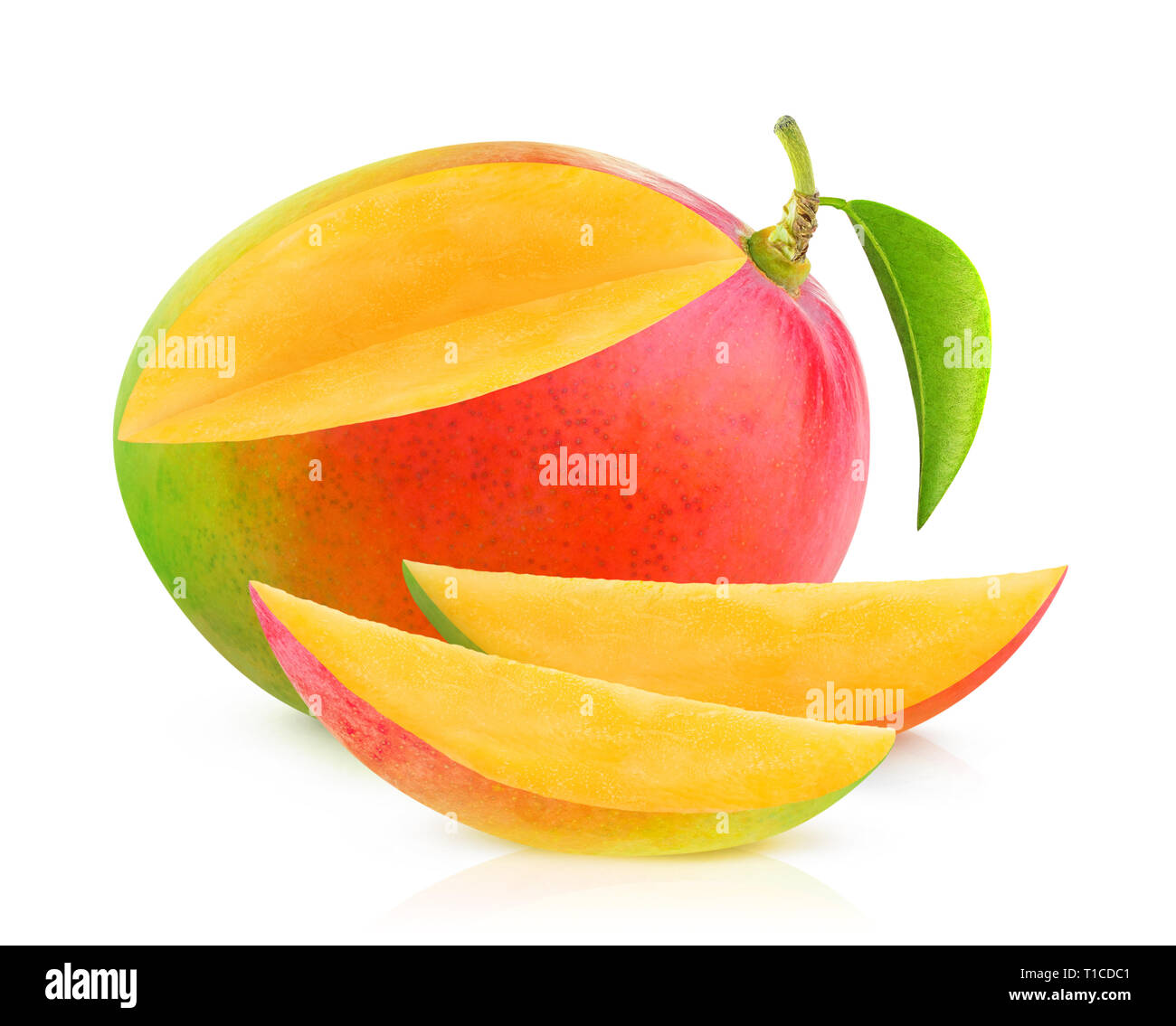 Isolated mango. One mango fruit with cut out slices isolated on white background with clipping path Stock Photo