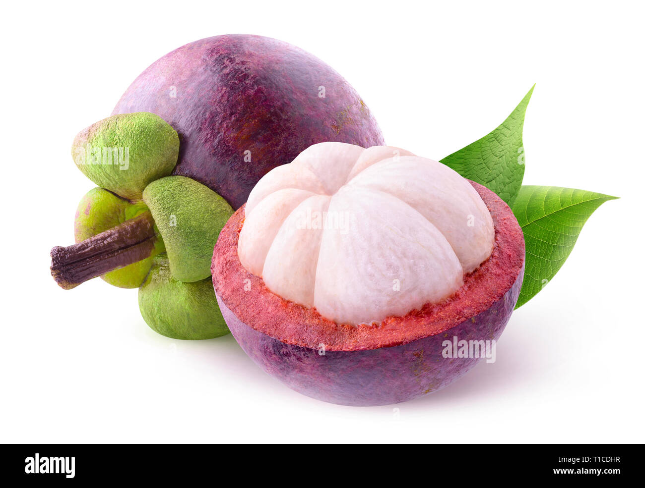 Isolated tropical fruits. One and a half cut mangosteens isolated on white background with clipping path Stock Photo