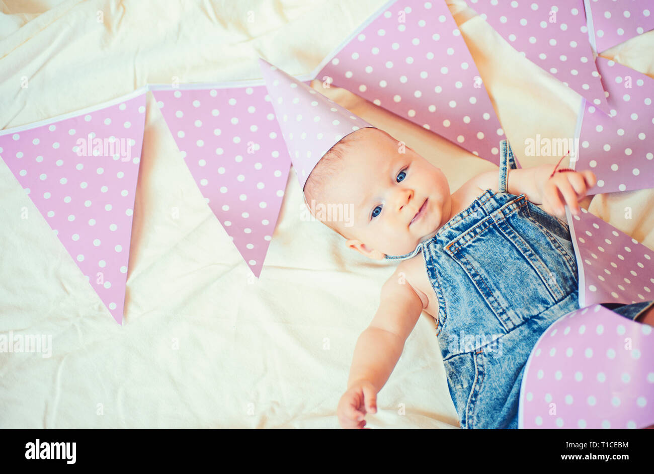 My best little friend. Sweet little baby. New life and birth. Childhood happiness. Portrait of happy little child. Small girl. Happy birthday. Family Stock Photo