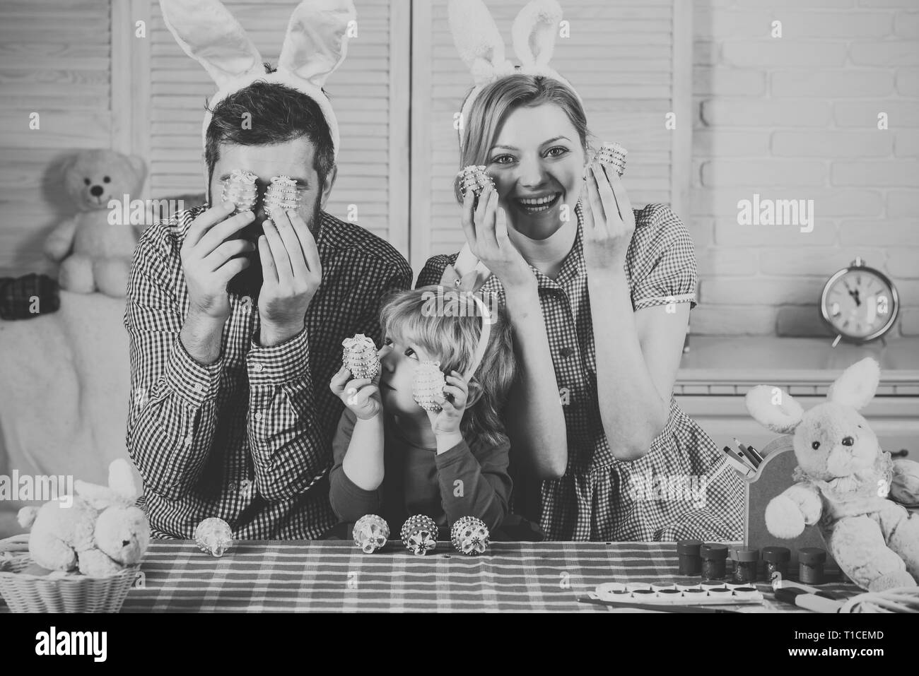 Family values, childhood, art, easter. - Stock Image