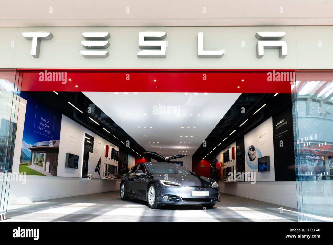 Tesla car showroom, UK. - Stock Image