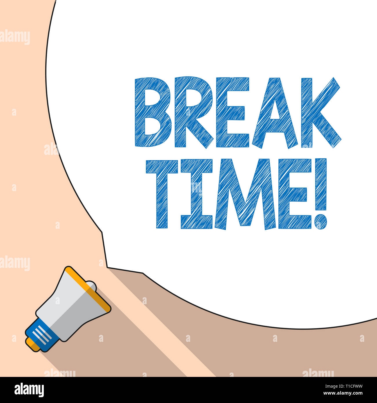 Writing note showing Break Time. Business concept for scheduled time when workers stop working for brief period White Speech Bubble Occupying Half of  - Stock Image