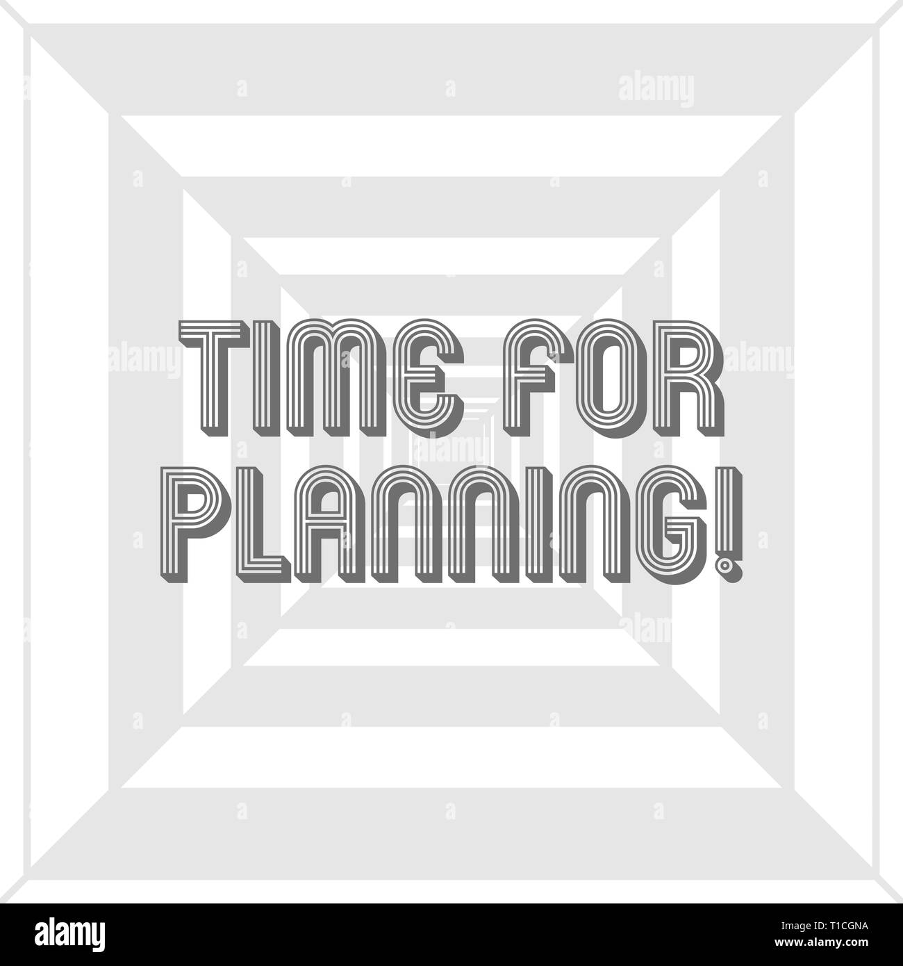 Writing note showing Time For Planning. Business concept for exercising conscious control spent on specific activities Concentric Pattern Creating Dep - Stock Image