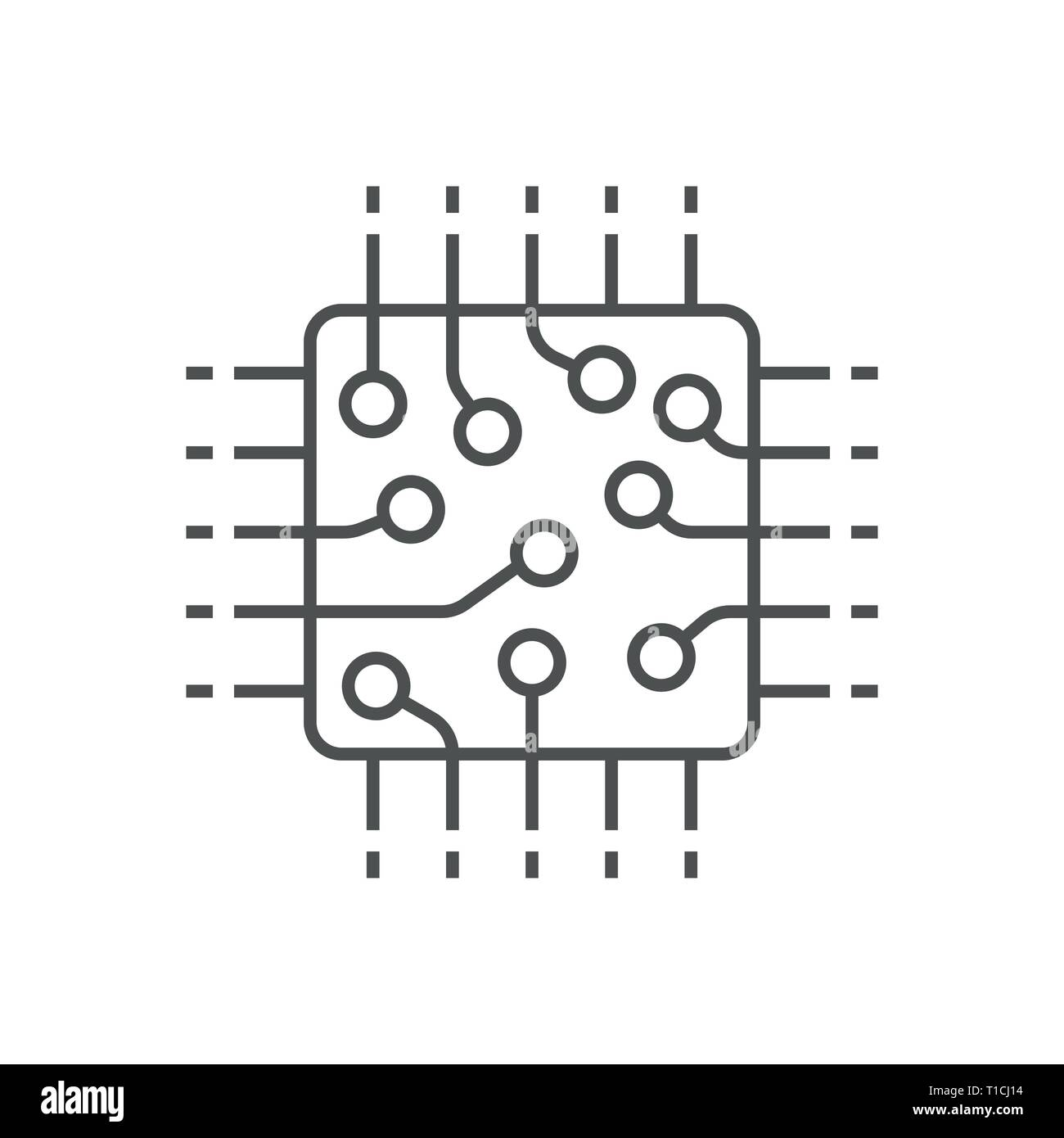 Processor icon, CPU, GPU, chip. Technology computer chip icon in line style. Editable Stroke. EPS 10 - Stock Image