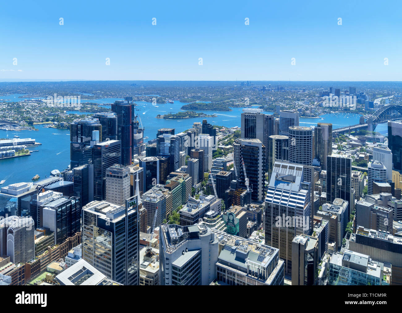 View from the Sydney Tower Eye over the Central Business District (CBD), Sydney, Australia - Stock Image