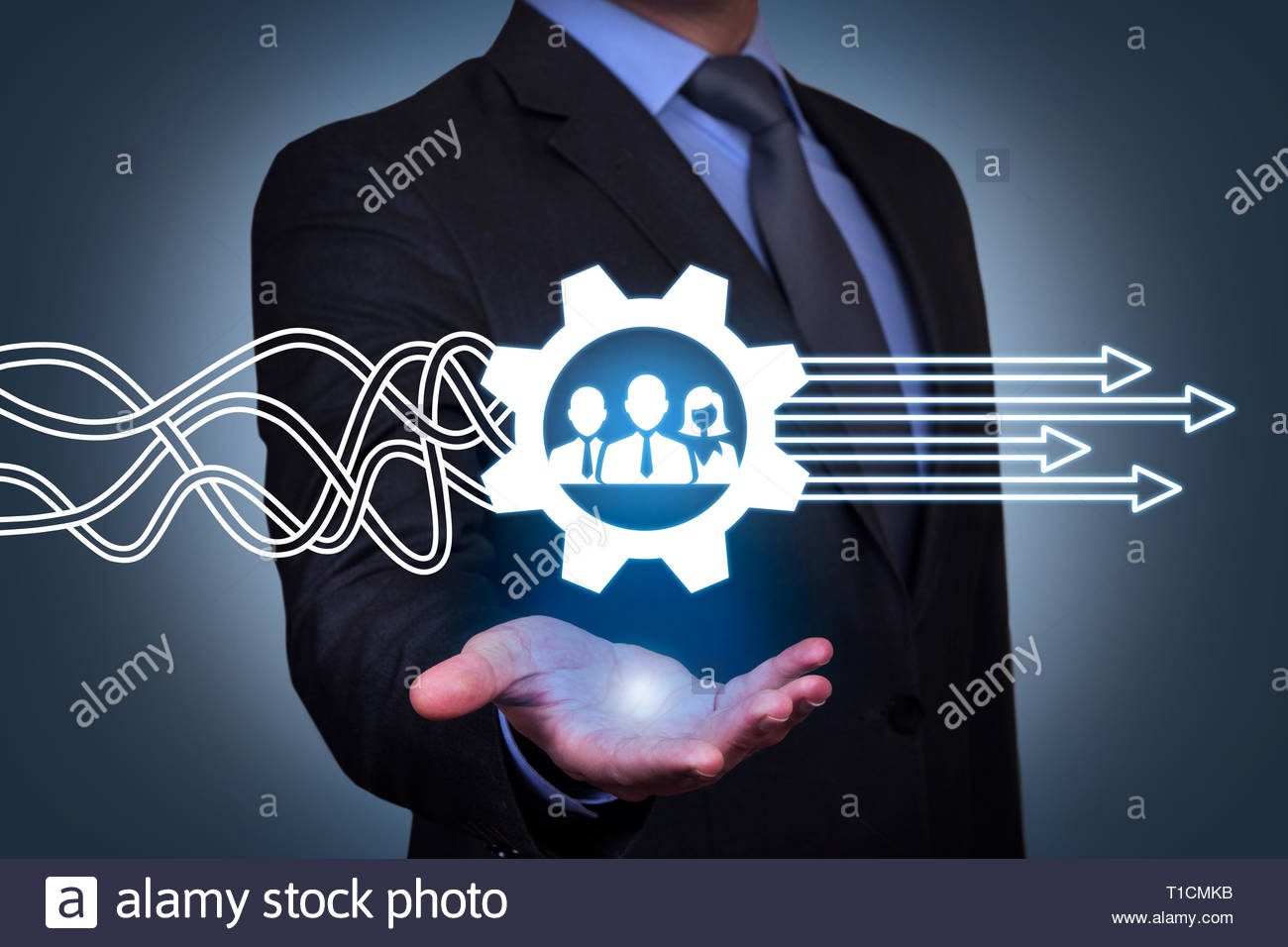 Teamwork Solutions Concepts on Visual Screen Stock Photo
