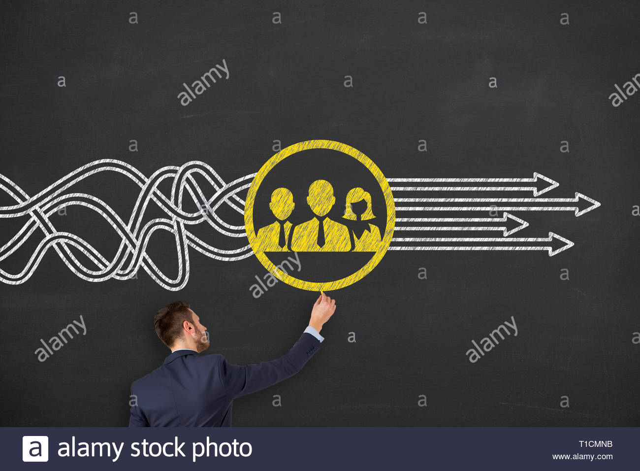 Teamwork Solutions Concepts on Chalkboard Background - Stock Image