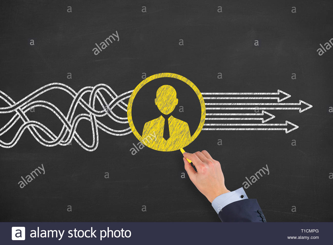 Human Resourses Solution Concepts on Blackboard Background Stock Photo
