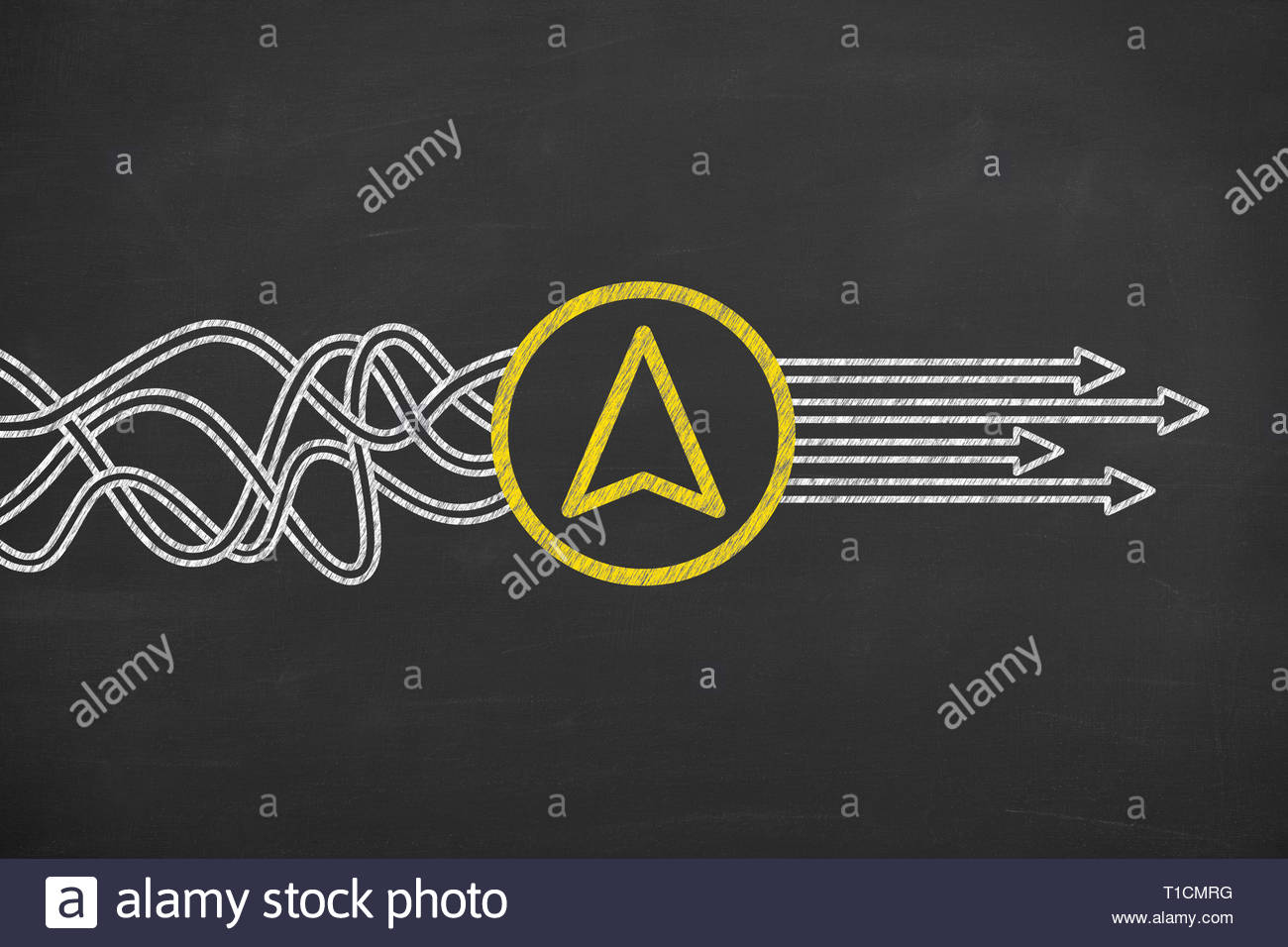 Direction Solution Concepts on Chalkboard Background - Stock Image